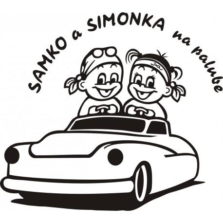 D046 Chlapček a dievčatko v aute